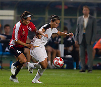 Carli Lloyd, Ingvild Stensland. The US lost to Norway, 2-0, during first round play at the 2008 Beijing Olympics in Qinhuangdao, China.