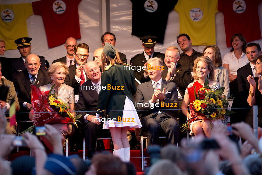 BRUSSELS, BELGIUM: King Albert II ,of Belgium, Queen Paola, Prince Philippe and Princess  Mathilde attend the National Ball. 20 july 2013