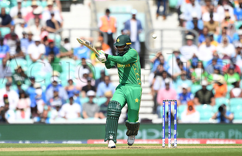 June 18th 2017, The Kia Oval, London, England;  ICC Champions Trophy Cricket Final; India versus Pakistan; Fakhar Zaman of Pakistan hits a high ball for 4
