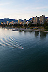 Sunset in downtown Vancouver, British Columbia, Canada as seen from the Burrard Street Bridge