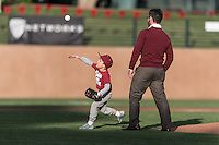 Stanford, CA; Thursday May 5 2016; Baseball, Stanford vs Cal;  A young fan throws the first pitch while his father looks on.