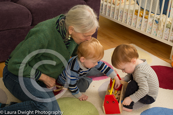 20 month old fraternal twin boys with grandmother