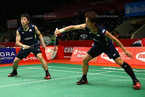 Kenta Kazuno & Kazushi Yamada (JPN), AUGUST 12, 2015 - Badminton : TOTAL BWF World Championships 2015 Men's Doubles 2nd round match at Istora Senayan Arena, Jakarta, Indonesia. (Photo by Shingo Ito/AFLO SPORT)