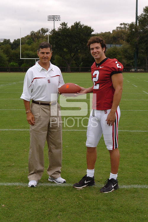 7 August 2006: Stanford Cardinal head coach Walt Harris and Nick Sanchez during Stanford Football's Team Photo Day at Stanford Football's Practice Field in Stanford, CA.
