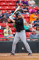 Patrick Palmeiro (24) of the Kannapolis Intimidators at bat against the Hickory Crawdads at L.P. Frans Stadium on May 25, 2013 in Hickory, North Carolina.  The Crawdads defeated the Intimidators 14-3.  (Brian Westerholt/Four Seam Images)
