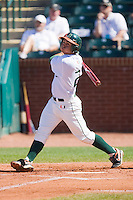 Scott Lawson #2 of the Miami Hurricanes follows through on his swing against the Florida State Seminoles at the 2010 ACC Baseball Tournament at NewBridge Bank Park May 26, 2010, in Greensboro, North Carolina.  The Hurricanes defeated the Seminoles 9-3.  Photo by Brian Westerholt / Four Seam Images