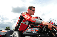 Mar. 9, 2012; Gainesville, FL, USA; NHRA pro stock motorcycle rider Andrew Hines during qualifying for the Gatornationals at Auto Plus Raceway at Gainesville. Mandatory Credit: Mark J. Rebilas-