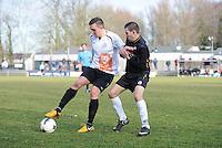 VOETBAL: DRACHTEN: 28-02-2015, Dachtster Boys - WHC, Eindstand: 3-0, Robbert van Schie (#12), Kevin Bakels (#16), ©foto Martin de Jong