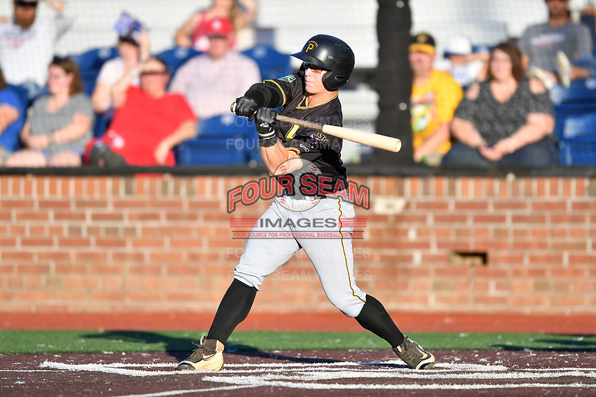 Bristol Pirates Matthew Morrow (2) swings at a pitch during game two of the Appalachian League, West Division Playoffs against the Johnson City Cardinals at TVA Credit Union Ballpark on August 31, 2019 in Johnson City, Tennessee. The Cardinals defeated the Pirates 7-4 to even the series at 1-1. (Tony Farlow/Four Seam Images)