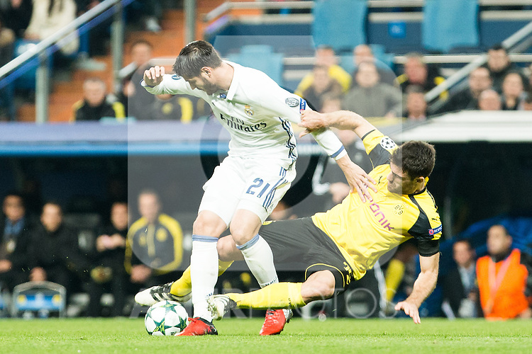 Real Madrid's Alvaro Morata Borussia Dortmund Sokratis Papastathoppulos during Champions League match between Real Madrid and Borussia Dortmund  at Santiago Bernabeu Stadium in Madrid , Spain. December 07, 2016. (ALTERPHOTOS/Rodrigo Jimenez)