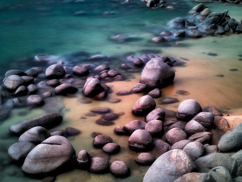 Boulders on beach shore of Lake Tahoe, Nevada