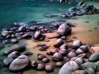 Boulders on beach shore of Lake Tahoe, Nevada