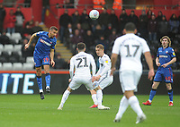 Bolton Wanderers' Gary O'Neil under pressure from Swansea City's Matt Grimes<br /> <br /> Photographer Kevin Barnes/CameraSport<br /> <br /> The EFL Sky Bet Championship - Swansea City v Bolton Wanderers - Saturday 2nd March 2019 - Liberty Stadium - Swansea<br /> <br /> World Copyright © 2019 CameraSport. All rights reserved. 43 Linden Ave. Countesthorpe. Leicester. England. LE8 5PG - Tel: +44 (0) 116 277 4147 - admin@camerasport.com - www.camerasport.com