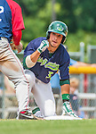 8 July 2014: Vermont Lake Monsters infielder Joe Bennie slides safely into third with an RBI triple to tie the game 2-2 in the 3rd inning against the Lowell Spinners at Centennial Field in Burlington, Vermont. The Lake Monsters rallied with two runs in the 9th to defeat the Spinners 5-4 in NY Penn League action. Mandatory Credit: Ed Wolfstein Photo *** RAW Image File Available ****