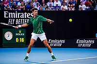 30th January 2020; Melbourne Park, Melbourne, Victoria, Australia; Australian Open Tennis, Day 11; Novak Djokovic of Serbia returns the ball during the semifinals of the 2020 Australian Open on January 30 2020, at Melbourne Park in Melbourne, Australia. (Photo by Jason Heidrich/Icon Sportswire)MELBOURNE, VIC - JANUARY 30:
