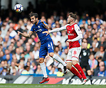 Cesc Fabregas of Chelsea and Aaron Ramsey of arsenal during the premier league match at Stamford Bridge Stadium, London. Picture date 17th September 2017. Picture credit should read: David Klein/Sportimage