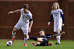 GREENSBORO, NC - DECEMBER 02: Alex Walter #15 breaks away from Shatil Khoury #34 of North Park University during the Division III Men's Soccer Championship held at UNC Greensboro Soccer Stadium on December 2, 2017 in Greensboro, North Carolina. Messiah College defeated North Park University 2-1 to win the national title. (Photo by Grant Halverson/NCAA Photos via Getty Images)