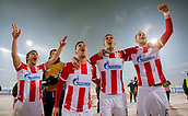 7th December 2017, Rajko Mitic Stadium, Belgrade, Serbia, UEFA Europa League football, Red Star Belgrade versus FC Cologne; Defender Filip Stojkovic, Defender Vujadin Savic and Midfielder Uros Racic of Red Star Belgrade celebrate the victory