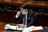 The Italian Premier Giuseppe Conte having a coffee during the information about the next European Council at the Chamber of Deputies. Rome (Italy), July 15th 2020<br /> Foto Pool Paolo Tre Insidefoto