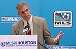 Oliver Luck, president of Houston's Major League Soccer team, addresses the media during a news conference welcoming Major League Soccer to Houston outside Houston City Hall Friday Dec. 16,2005.