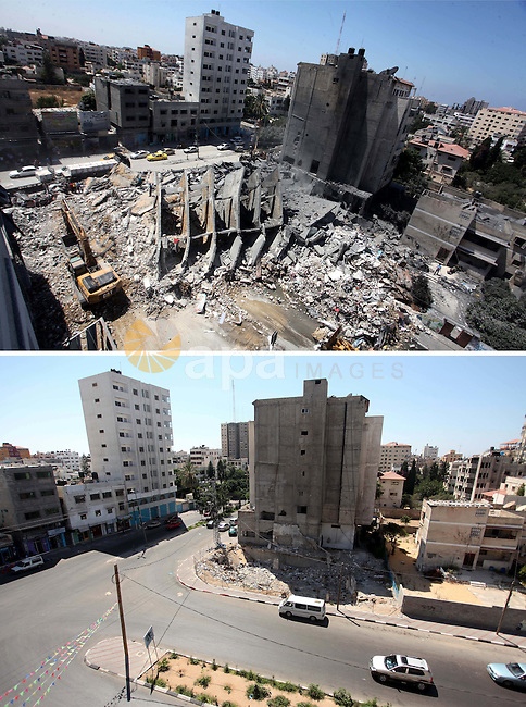 A combination of pictures made on July 7, 2015 shows (top) Palestinian rescue workers search under the rubble of a tower building housing offices which witnesses said was destroyed by an Israeli air strike in Gaza City August 26, 2014, and the same place (bottom) on July 7, 2015, a year after the 50-day war between Israel and Hamas' militants. Photo by Ashraf Amra