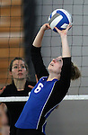 Marymount University's Melissa Warren plays in college volleyball action at Goucher College in Towson, MD, on Saturday, Oct. 8, 2011..Photo by Cathleen Aliison