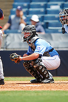 Catcher Dillon Dingler (24) of Jackson High School in North Canton, Ohio playing for the Kansas City Royals scout team during the East Coast Pro Showcase on August 3, 2016 at George M. Steinbrenner Field in Tampa, Florida.  (Mike Janes/Four Seam Images)