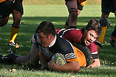 Raymond McCalley scores under the posts dispite the tackle of Greg Whareaitu. CMRFU Counties Power Cup Game of the Week between Te Kauwhata & Puni played at Te Kauwhata on Saturday May the 3rd, 2008..Te Kauwhata led 5 - 0 at halftime & went on to win 29 - 0.