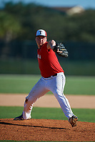 Casper Clark during the WWBA World Championship at the Roger Dean Complex on October 20, 2018 in Jupiter, Florida.  Casper Clark is a right handed pitcher from North Vernon, Indiana who attends Columbus North High School and is committed to Indiana.  (Mike Janes/Four Seam Images)