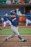 Bryan Torres (16) of the Helena Brewers bats against the Ogden Raptors at Lindquist Field on July 14, 2018 in Ogden, Utah. Ogden defeated Helena 8-6. (Stephen Smith/Four Seam Images)