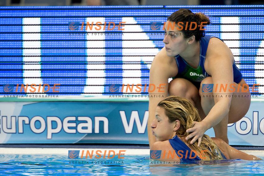 6 AIELLO Rosaria ITA (crouching); 12 FRASSINETTI Teresa ITA (In the water)<br /> Women HUN - ITA  (white cap) Hungary Vs. Italy (blue Cap)<br /> LEN European Water Polo Championships 2016<br /> Kombank Arena, Belgrade, Serbia <br /> Day11  21-01-2016 semifinal<br /> Photo G.Scala/Insidefoto/Deepbluemedia