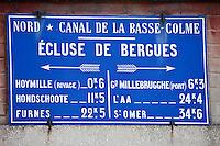 Europe/France/Nord-Pas-de-Calais/59/ Nord/ Bergues: Panneau de l'Ecluse de Bergues sur le Canal de la Basse Colme