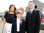 James Tester from Callystown NS who received confirmation at St Michael's church Clogherhead pictured with parents Derek and Shaunaand Isobel San Roma. Photo: Colin Bell/pressphotos.ie