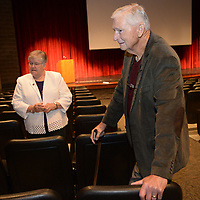 NWA Democrat-Gazette/ANDY SHUPE<br /> Pediatric dentist James Hunt (right) and longtime educator Faye Jones speak Thursday, Oct. 11, 2018, before the start of a presentation by the four Fayetteville Public Schools Hall of Honor inductees in the Performing Arts Center on the Fayetteville High School campus. Also inducted were Peggy Taylor Lewis, who was one of the first black students to graduate from Fayetteville High School, and beloved educator George Spencer.