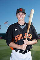 San Jose Giants outfielder Bryce Johnson (28) poses for a photo before a California League game against the Lancaster JetHawks at San Jose Municipal Stadium on May 12, 2018 in San Jose, California. Lancaster defeated San Jose 7-6. (Zachary Lucy/Four Seam Images)