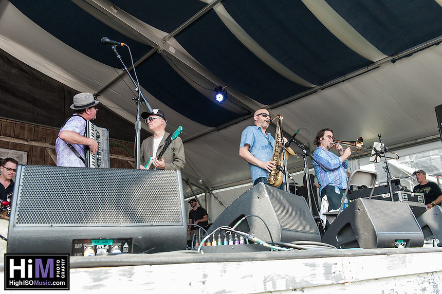 The New Orleans Klezmer Allstars perform at the 2014 Jazz and Heritage Festival in New Orleans, LA.