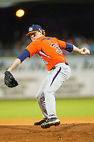 Relief pitcher Bradley Hendrix #31 of the Auburn Tigers in action against the Alabama Crimson Tide at Riverwalk Park on March 15, 2011 in Montgomery, Alabama.  Photo by Brian Westerholt / Four Seam Images