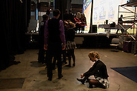 Teams in the Mixed Ceili competition wait backstage to perform at the 2013 World Championships for Irish Dancing in Boston, Massachusetts, USA.  The 2013 competition in Boston is the second time in the competition's 43-year history that the event has been held in the United States.