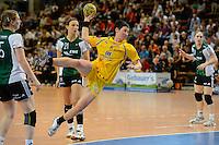 Anne Müller (HCL) im Sprungwurf, dahinter Angie Geschke (VFL)