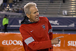 New Mexico head coach Bob Davie works the sidelines against Nevada in the first half of an NCAA college football game in Reno, Nev., Saturday, Nov. 2, 2019. (AP Photo/Tom R. Smedes)