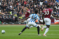 West Ham United's Manuel Lanzini is fouled by Huddersfield Town's Aaron Rowe to earn his side a first half penalty<br /> <br /> Photographer Rob Newell/CameraSport<br /> <br /> The Premier League - West Ham United v Huddersfield Town - Saturday 16th March 2019 - London Stadium - London<br /> <br /> World Copyright © 2019 CameraSport. All rights reserved. 43 Linden Ave. Countesthorpe. Leicester. England. LE8 5PG - Tel: +44 (0) 116 277 4147 - admin@camerasport.com - www.camerasport.com