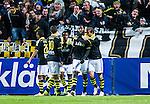 Solna 2014-05-05 Fotboll Allsvenskan AIK - Helsingborgs IF :  <br /> AIK:s Henok Goitom har gjort 2-1 och gratuleras av AIK:s Kenny Pavey , AIK:s Kennedy Igboananike och AIK:s Celso Borges <br /> (Foto: Kenta J&ouml;nsson) Nyckelord:  Friends Arena AIK Gnaget HeIF HIF Helsingborg jubel gl&auml;dje lycka glad happy