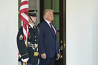 United States President Donald J. Trump awaits the arrival of Sheikh Abdullah bin Zayed bin Sultan Al Nahyan, Minister of Foreign Affairs and International Cooperation of the United Arab Emirates, to the White House in Washington, DC on Tuesday, September 15, 2020.  Dr. Alzayani is in Washington to sign the Abraham Accords, a peace treaty with the State of Israel.<br /> Credit: Chris Kleponis / Pool via CNP /MediaPunch