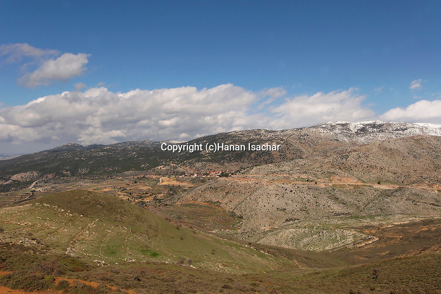 The Golan Heights. A view from Nimrod of Mount Hermon and Neve Ativ