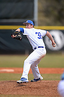 South Dakota State JackRabbits pitcher Austin Kost (32) delivers a pitch during a game against the Maine Black Bears at South County Regional Park on March 9, 2014 in Port Charlotte, Florida.  Maine defeated South Dakota 5-4.  (Mike Janes/Four Seam Images)