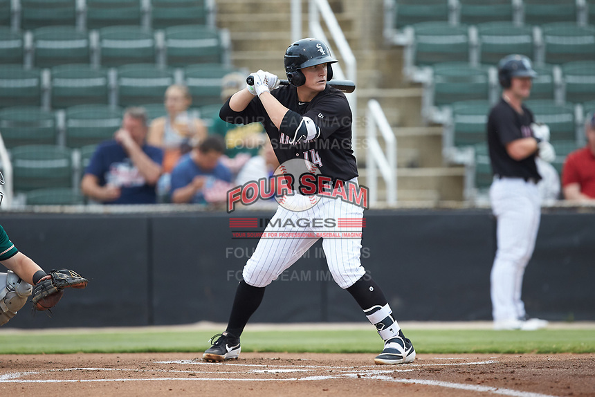 Andrew Vaughn (14) of the Kannapolis Intimidators at bat against the Greensboro Grasshoppers at Kannapolis Intimidators Stadium on July 9, 2019 in Kannapolis, North Carolina. The Grasshoppers defeated the Intimidators 5-4. (Brian Westerholt/Four Seam Images)