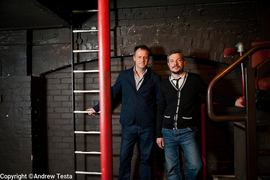 UK. London. 8th July 2010.Michael Grandage (left) and James Bierman in the circle at the Donmar Warehouse.©Andrew Testa for the New York Times