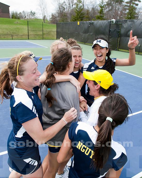 University of Michigan women's tennis defeats Northwestern University 6-1 to clinch the Big Ten regular-season title at the Varsity Tennis Center in Ann Arbor, MI, on April 23, 2011.