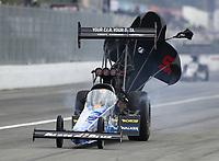 Feb 9, 2020; Pomona, CA, USA; NHRA top fuel driver Clay Millican during the Winternationals at Auto Club Raceway at Pomona. Mandatory Credit: Mark J. Rebilas-USA TODAY Sports
