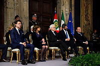 Italian premier Giuseppe Conte, President of Senate Maria Elisabetta Alberti Casellati,  President of the Republic Sergio Mattarella, President of the lower Chamber Roberto Fico and President of the Constitutional Court Giorgio Lattanzi<br /> Rome December 19th 2018. Quirinale. Traditional exchange of Christmas wishes between the President of the Republic and the institutions.<br /> Foto Samantha Zucchi Insidefoto